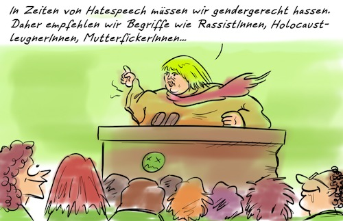 Cartoon: Claudia Roth (medium) by Rob tagged claudia,roth,gender,geschlecht,hass,hate,hassrede,hatespeech