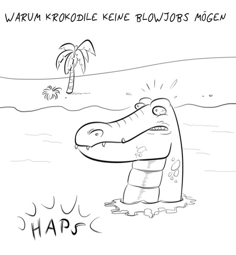 Cartoon: HAPS (medium) by Rob tagged croco,kroko,crokodile,krokodil,aligator,sea,strand,wasser,water,beach,blowjob,blasen,blow,palm,palme