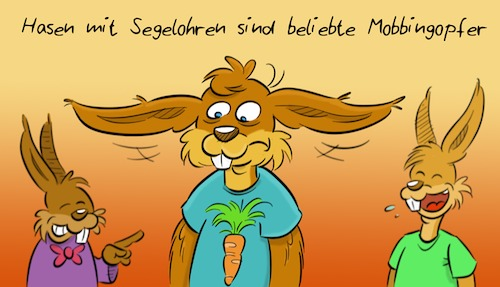 Cartoon: Mobbing (medium) by Rob tagged hase,hasen,hare,bunny,kaninchen,mobbing,opfer,victim,segelohr,segelohren,bat,ear