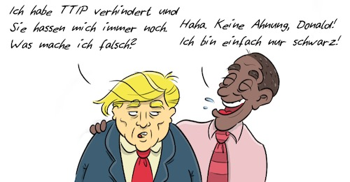 Cartoon: Trump Obama (medium) by Rob tagged donald,trump,barack,obama,ttip,black,president,präsident,us,usa,amerika,america