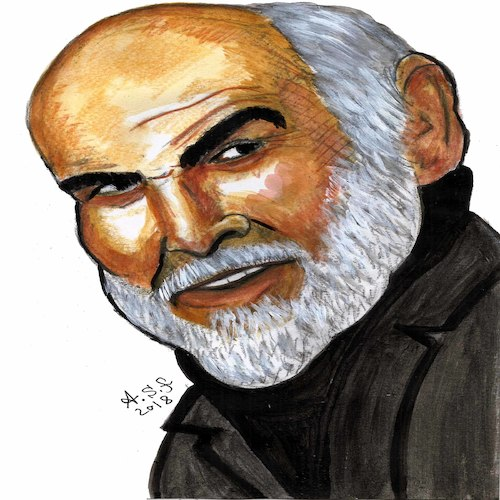 Cartoon: sean connery (medium) by AHMEDSAMIRFARID tagged actor,sean,connery,ahmedsamirfarid,ahmed,samir,farid,mo,cartoon,caricature,egypt,worldcup,egyptair