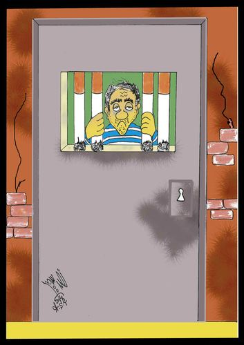 Cartoon: SMOKING PRISON (medium) by AHMEDSAMIRFARID tagged ahmed,samir,farid,crown,death,gate,door,egyptair,tag,artist,cartoon,caricature,egypt,revolution,employee