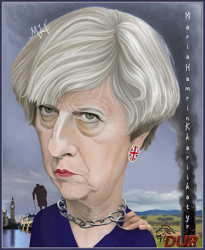 Cartoon: Theresa May. (medium) by Maria Hamrin tagged caricature,british,leader,chief,politican,conservative,party,uk,david,cameron,margret,thatcher,10,downing,street,eu,brexit,dup
