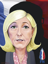 Cartoon: Marine Le Pen with shadow. (small) by Maria Hamrin tagged france,republic,fn,chief,leader,eu,euro,immigration,brussels,luxemburg,strasbourg,paris,muslims,islamism,hollande,election