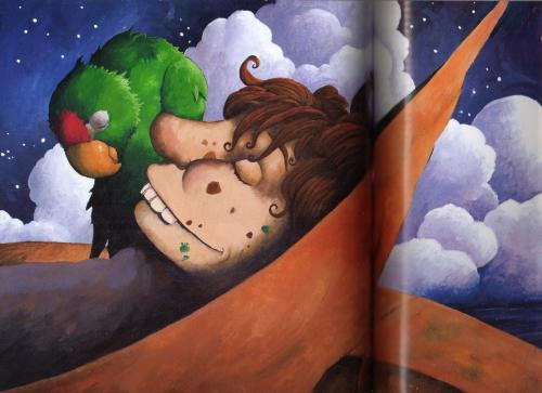 Cartoon: sleeping pirate and parrot (medium) by orchard tagged parrot,pirate,gouache