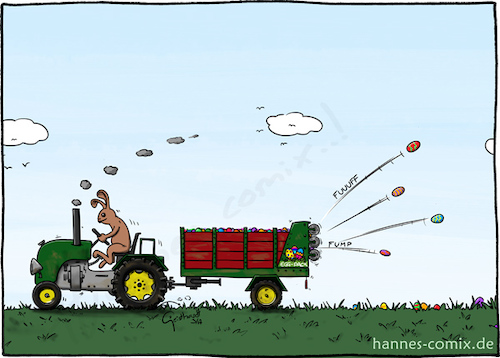 Cartoon: Eierwerfer (medium) by Hannes tagged ostern,osterhase,ostereier,easter,landwirtschaft,traktor