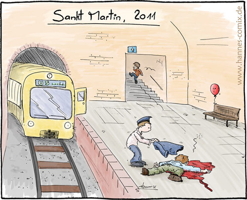 Cartoon: Sankt Martin 2011 (medium) by Hannes tagged bettler,gewalt,helfer,mantel,martinsumzug,opfer,sankt,martin,ubahn