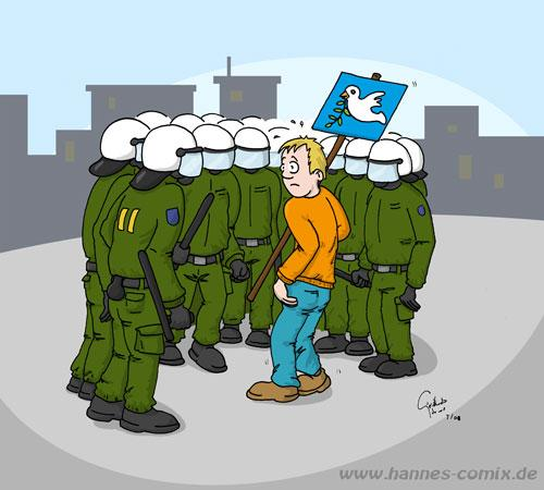 Cartoon: Störenfried (medium) by Hannes tagged polizei,demonstrant,demonstration,peace,friedenstaube