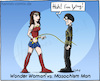 Cartoon: Wonder Woman vs. Masochism Man (small) by Hannes tagged wonderwoman masochism pain sadomaso hero