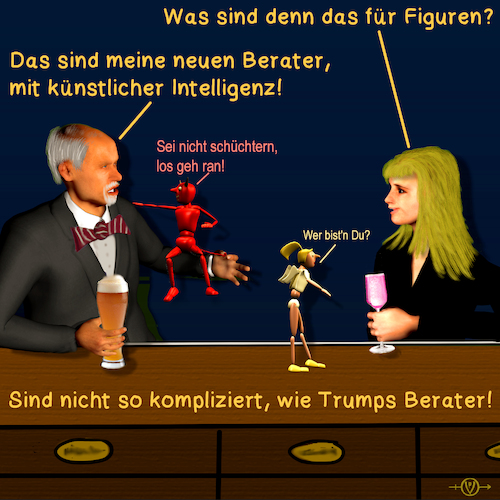 Cartoon: Bargespräche 13 - Berater (medium) by PuzzleVisions tagged puzzlevisions,künstliche,intelligenz,artificial,intelligence,donald,trump
