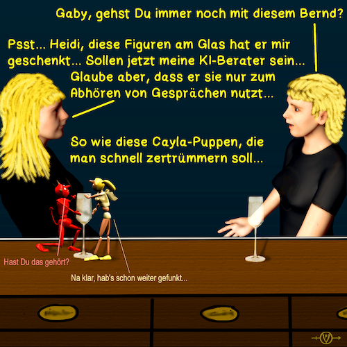 Cartoon: Bargespräche 14 - Puppe Cayla (medium) by PuzzleVisions tagged puzzlevisions,künstliche,intelligenz,artificial,intelligence,puppe,cayla,doll