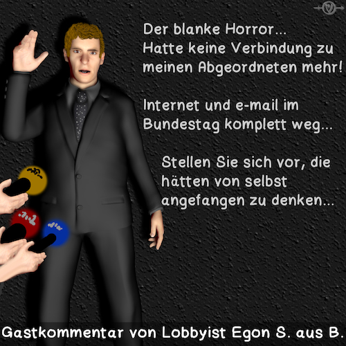 Cartoon: Lobbyismus (medium) by PuzzleVisions tagged puzzlevisions,email,bundestag,ausfall,internet,lobbyist,lobbyismus,lobby