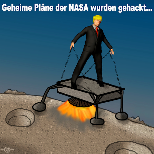 Cartoon: NASA Pläne gehackt (medium) by PuzzleVisions tagged puzzlevisions,trump,donald,nasa,mond,moon,gehackt,pläne