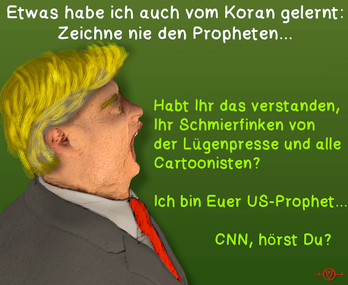 Cartoon: Trump und die Medien (medium) by PuzzleVisions tagged puzzlevisions,trump,donald,cnn,medien,cartoonist,prophet,usa,koran,quran