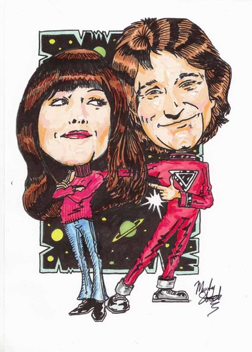 Cartoon: mork and Mindy (medium) by Marty Street tagged mindy,robin,williams