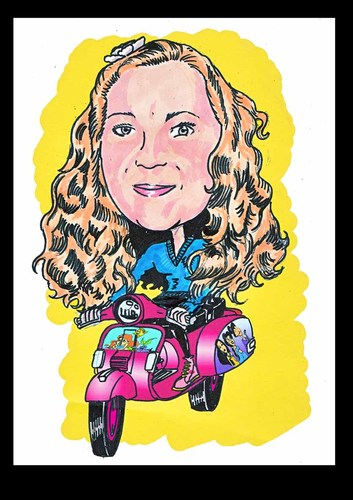 Cartoon: private portrait (medium) by Marty Street tagged scooters,vespa