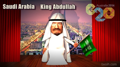 Cartoon: King Abdullah (medium) by TwoEyeHead tagged saudi,royal,family,king,abdullah,arabia,g20,brisbane