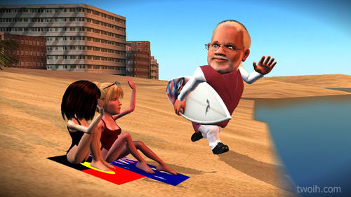 Cartoon: Surfer dude Narendra Modi (medium) by TwoEyeHead tagged surfing,australia,india,modi,narendra