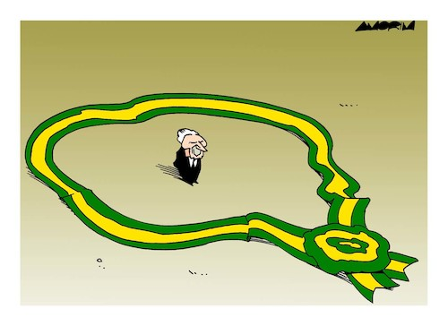 Cartoon: Brazilian President accused (medium) by Amorim tagged brazilian,president,michel,temer