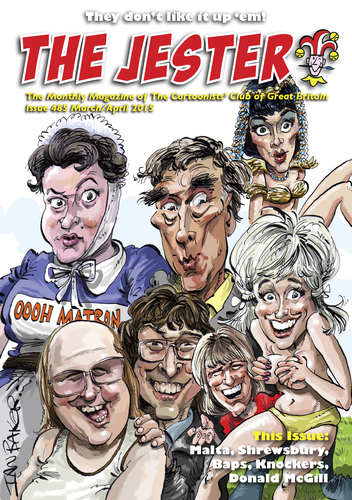 Cartoon: Jester Cover (medium) by Ian Baker tagged jester,cartoonists,club,of,great,britain,ian,baker,caricatures,carry,on,saucy,comedy,film,barbara,windsor,robin,askwith,little,david,walliams,lucas,amanda,barrie,cleopatra,camping,nurse,bikini,nude,naked,frankie,howerd