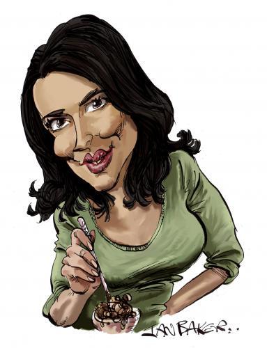 Cartoon: Nigella Lawson (medium) by Ian Baker tagged nigella,lawson,cooking