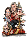 Cartoon: Flash Gordon (small) by Ian Baker tagged ian,baker,cartoon,cartoonist,caricature,tv,film,sci,fi,flash,gordon,space,sam,jones,melody,anderson,ornella,muti,max,von,sydow,eighties,queen,sexy,hero,ming,the,merciless,dale,arden,princess,aura