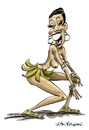 Cartoon: Josephine Baker (small) by Ian Baker tagged josephine baker nude dancer cabaret revue paris twenties burlesque showbiz art deco folies bergeres bananas caricature