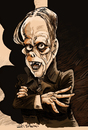 Cartoon: Lon Chaney (small) by Ian Baker tagged lon,chaney,horror,phantom,of,the,opera,black,and,white,movies,caricature,makeup,disguise,creepy
