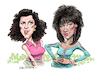 Cartoon: Miami Vice Gina and Trudy (small) by Ian Baker tagged ian,baker,cartoon,caricature,miami,vice,tv,action,gina,calabrese,trudy,joplin,saundra,santiago,olivia,brown,don,johnson,philip,michael,thomas,famous,celebrity,tropical,sexy