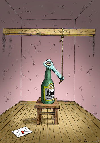 Cartoon: Bierabschied (medium) by marian kamensky tagged bier,abschied,herbstdepression,schwermut,bier,abschied,herbstdepression,schwermut