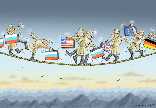 Cartoon: DIPLOMATENAUSWEISUNGEN (medium) by marian kamensky tagged theresa,may,putin,sergei,skripal,novichok,russia,kgb,poison,attack,england,agents,theresa,may,putin,sergei,skripal,novichok,russia,kgb,poison,attack,england,agents