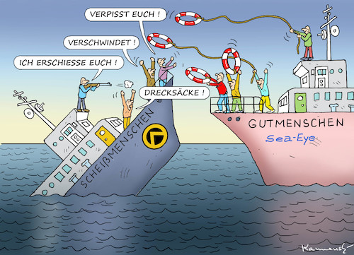 Cartoon: IDENTITÄREN ÄRGERN SICH (medium) by marian kamensky tagged identitären,bewegung,mittelmeer,sea,eye,identitären,bewegung,mittelmeer,sea,eye