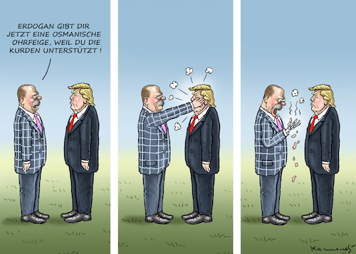 Cartoon: Ohrfeige für Trump (medium) by marian kamensky tagged erdogans,operation,olivenzweig,syrien,kurden,trump,erdogans,operation,olivenzweig,syrien,kurden,trump