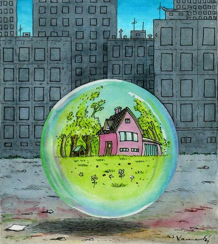 Cartoon: Real Estate Bubble (medium) by marian kamensky tagged humor,real estate,stadt,city,haus,häuser,wohnen,real,estate,immobilien