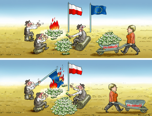 Cartoon: SOLIDARNOSC (medium) by marian kamensky tagged solidarnosc,pis,polen,nationalismus,merkel,solidarnosc,pis,polen,nationalismus,merkel