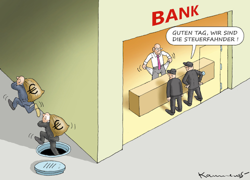 Cartoon: STEUER-RAZZIEN BEI DEN BANKEN (medium) by marian kamensky tagged deutsche,bank,commerzbank,fusion,bibel,weisheit,geld,kapital,deutsche,bank,commerzbank,fusion,bibel,weisheit,geld,kapital