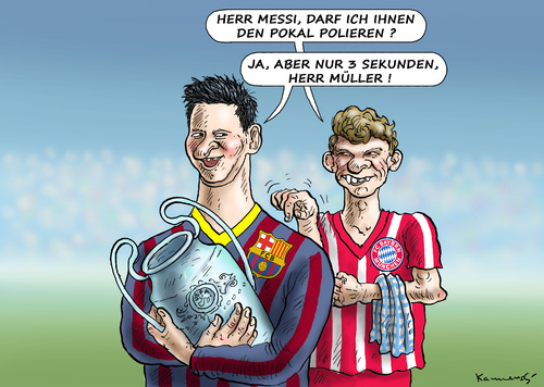 Cartoon: UEFA POKAL (medium) by marian kamensky tagged uefa,pokal,gc,barcelona,vc,bayern,messi,müller,uefa,pokal,gc,barcelona,vc,bayern,messi,müller