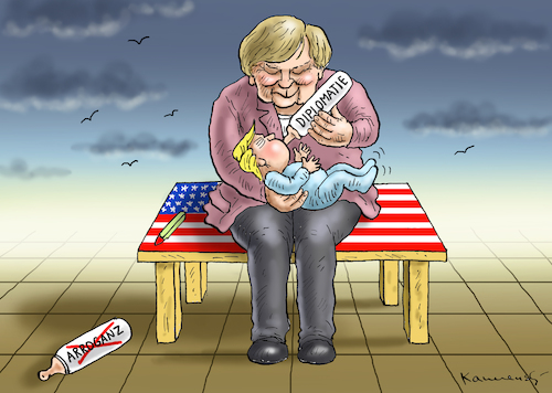Cartoon: WARUM MERKEL BESUCHT TRUMP (medium) by marian kamensky tagged merkel,besucht,trump,merkel,besucht,trump