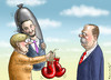 Cartoon: MERKEL BESCHENKT ERDOGAN (small) by marian kamensky tagged böhmermann,erdogan,merkel,satire,zdf