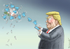 Cartoon: TRUMPS TWITTER ATTACK (small) by marian kamensky tagged obama,trump,präsidentenwahlen,usa,baba,vanga,republikaner,inauguration,demokraten,fbi,james,comey,wikileaks,faschismus