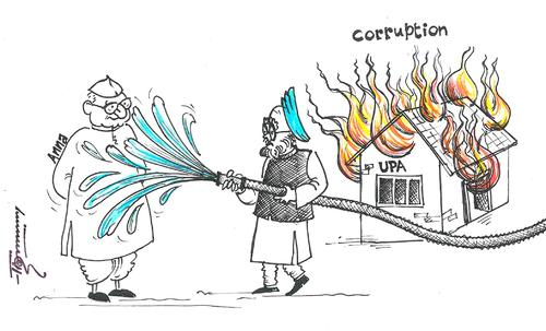 Cartoon: Anna Hazare and Indian PM (medium) by Thommy tagged anna,hazare,manmohan,singh,corruption