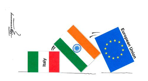 Cartoon: Italy India and EU (medium) by Thommy tagged italy,india