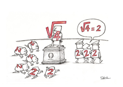 Cartoon: Radical 4 (medium) by dariush ramezani tagged mathematics,politics,people,dictator