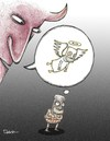 Cartoon: Devil and Terrorist (small) by dariush ramezani tagged cartoon,terrorist