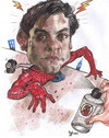 Cartoon: Tobey Maguire is Peter Parker. (small) by RoyCaricaturas tagged spiderman,maguire,tobey,hollywood,actors