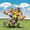 Cartoon: The Spirit of Rugby (small) by Mikl tagged mikl,michael,olivier,miklart,art,illustration,rugby,clermont,toulouse,stade,toulousain,asm,fair,play