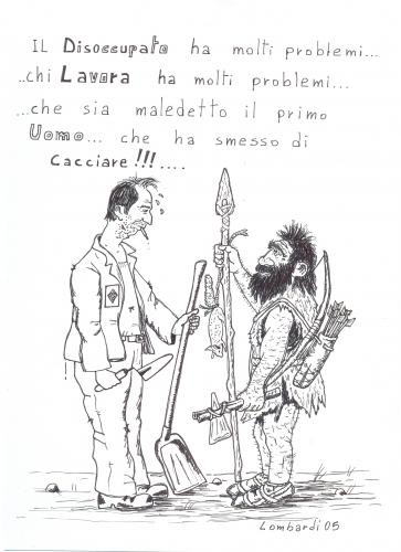 Cartoon: dalla pietra al cemento (medium) by paolo lombardi tagged italy,satire,politics,job,arbeit