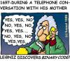 Cartoon: The unknown mother of Leibniz (small) by fussel tagged leibniz,telephone,communication