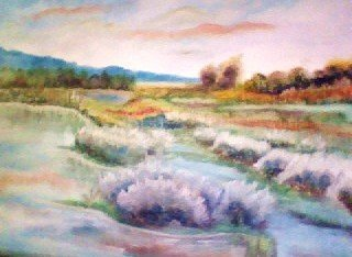 Cartoon: Marshy Bog (medium) by Krinisty tagged scenic,scenery,marsh,bog,water,sky,colors,colorful,trees,shrubs,swamp,pastel,painting,oil