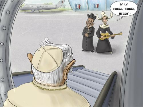 Cartoon: Pope in Paris (medium) by Vanmol tagged sarkozy,pope,bruni,paris